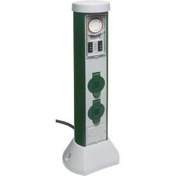 REV 0068206251 Gartensteckdose mit Zeitschaltuhr 2fach Grau, Grün mit Zeitschaltuhr
