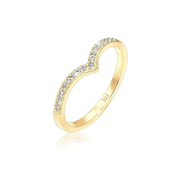 Elli Fingerring V-Form Geo Swarovski® Kristall 925 Sterling Silber, Kristall Ring goldfarben 54