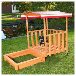 Mucola Sandkasten Sandkasten Sandkiste Holz Dach Sandbox Plane Kinder Spielhaus Sitzbank Abdeckung rot