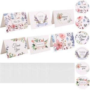 STOBOK 18 Stück Dankeskarten Umschläge Blumen Dankesnotizen Einladungskarten mit Aufklebern für Hochzeit Babypartygeschäft Brautparty Weihnachtsfeier (Blumen)