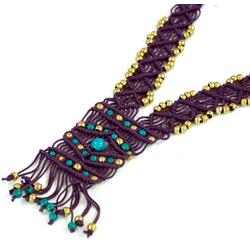 Guru-Shop Perlenkette Makrameee Kette mit Perle, Boho Makrameee..