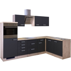 Eckküche LANA - L-Küche mit E-Geräten - Breite 280 x 170 cm - Anthrazit