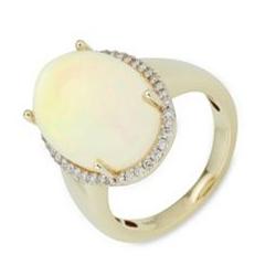 Afrikanischer Opal Ring ca. 10,00ct 40 Brillanten 0,28ct Gold 585