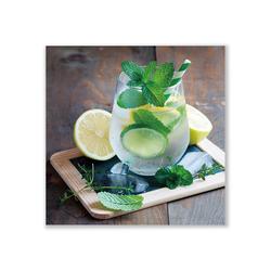 ImageLand Glasbild Digitaldruck Cocktail mit Zitronen, 60 x 60 cm