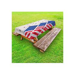 Abakuhaus Tischdecke dekorative waschbare Picknick-Tischdecke, 4. Juli Fahnen und Confettis 145 cm x 210 cm