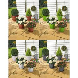 Alpfa Blumentopf-Set inkl. Untersetzer - 8-teilig weiß