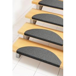 Stufenmatte Rambo, Andiamo, halbrund, Höhe 4 mm, Teppich-Stufenmatten, Treppen-Stufenmatten, Treppenschutz, für innen, im Set grau