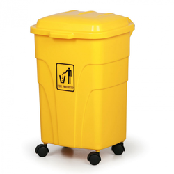 Mobiler mülleimer 70 liter, gelb
