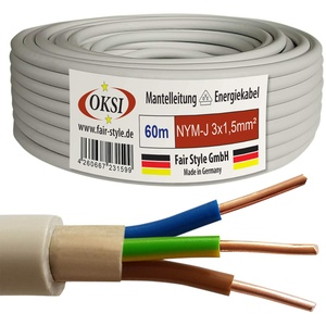 OKSI 60m NYM-J 3x1,5 mm2 Mantelleitung Feuchtraumkabel Elektrokabel Kupfer Made in Germany
