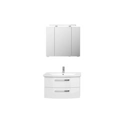 Lomadox Waschtisch-Set FES-4010-66, (Spar-Set), mit Waschtisch und Spiegelschrank in weiß glänzend - B/H/T: 84/175/46cm