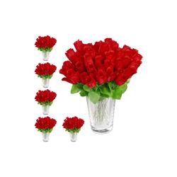 Künstliche Zimmerpflanze 288 x Kunstrosen rot, relaxdays, Höhe 26 cm