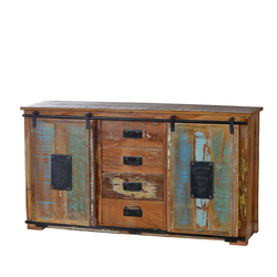 Shabby Chic Sideboard in Braun Bunt Altholz massiv