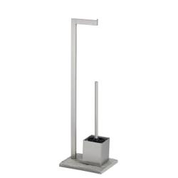WENKO Stand WC-Garnitur, Granit, Offener Toilettenbürstenhalter und Toilettenpapier-Rollenhalter, 1 Stück