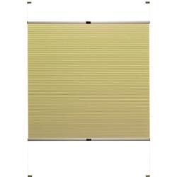 Doppelplissee nach Maß Rena, Good Life, verdunkelnd, mit Bohren, verspannt, bronzefarbene Profilschiene gelb
