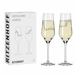 Ritzenhoff Champagnerglas Kristallwind Champagner 2er-Set 002, Kristallglas, Made in Germany