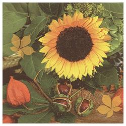 Linoows Papierserviette 20 Servietten, Kastanien & Sonnenblumen, Bunte, Motiv Kastanien und Sonnenblumen, Bunte Herbstszene