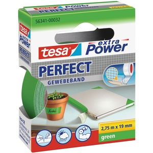 tesa extra Power Perfect Gewebeband - Gewebeverstärktes Ductape zum Basteln, Reparieren, Befestigen, Verstärken und Beschriften - Grün - 2,75 m x 19 mm
