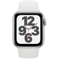 Apple Watch SE GPS 40 mm Aluminiumgehäuse silber, Sportarmband weiß