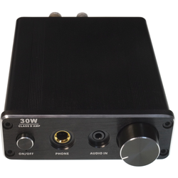 FeinTech Stereo-Audio-Verstärker / Kopfhörerverstärker, 30-W-RMS, Class-D, kompaktes Gehäuse