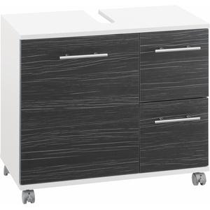 Schildmeyer Waschbeckenunterschrank Emmi, Höhe 60 cm, Metallgriffe, auf Rollen grau Bad-Waschbecken-Unterschränke Badmöbel Schränke