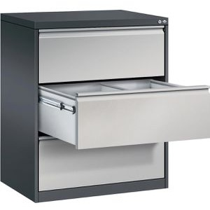CP-Möbel Hängeregisterschrank Acurado C2000, 2-bahnig, 3 Schübe, weißaluminium / anthrazit