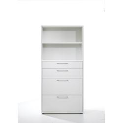 ebuy24 Regal, Mehrzweckregal Prisme Büro Aufbewahrung 4 Schubladen und 1 Ablage wei�