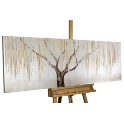 KUNSTLOFT Gemälde Trauerweide im Nebel, handgemaltes Bild auf Leinwand