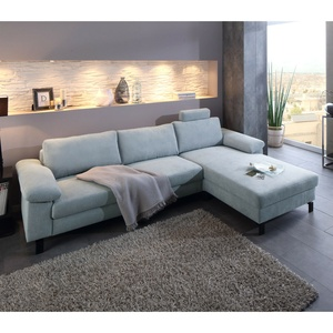 Ecksofa Intermezzo Eckgarnitur L-sofa Stoff Hellgrau Blau Federkern 264x182 Cm