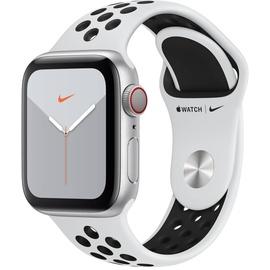Apple Watch Series 5 Nike GPS + Cellular 40 mm Aluminiumgehäuse silber, Nike Sportarmband pure platinum/schwarz