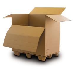 Box mit kippbarer stirnseite