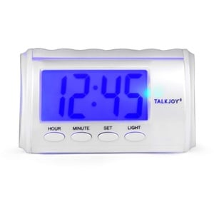 EN Sprechender Wecker mit Licht Nachttisch Senioren Uhr mit Zeitansage Uhrzeit auf Knopfdruck standfester Blindenwecker Blindenuhr Sprechende Uhr für Menschen mit Sehbehinderung (Englische Zeitansage)