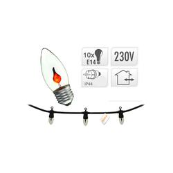 Lichterkette mit Flammeneffekt - Kamin Feuer Deko Lichterkette - 10x E14 IP44 - für innen & außen