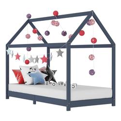 tilumi Kinderbett Kinder-Bettgestell Massivholz Kiefer grau 80 cm x 160 cm