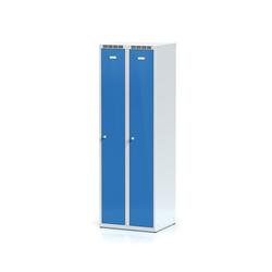 Metallspind, blaue zweimantelige tür, zylinderschloss