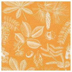 Linoows Papierserviette 20 Servietten, Früchte und Blätter des Waldes in, Motiv Früchte und Blätter des Waldes in Orange