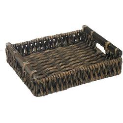 ARTRA Tablett Tablett LIA M+S aus Wasserhyazinthe Braun mit Holzgriff, Geflecht Wasserhyazinthe, (Set, 2-tlg)