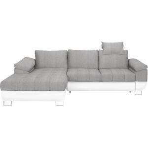 Wohnlandschaft in Grau/Weiß mit Bettfunktion