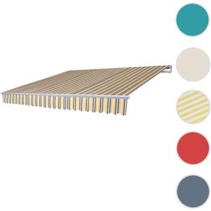 Alu-Markise T791, Gelenkarmmarkise Sonnenschutz 4,5x3m ~ Polyester grau-gelb
