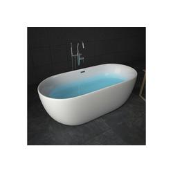 TroniTechnik Badewanne Freistehende Badewanne Sifnos, (1-tlg), aus glasfaserversärktem Acryl, mit Überlauf-Ablauf und Push-to-open Abfluss