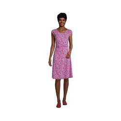 Jersey-Wickelkleid in Petite-Größe, Damen, Größe: S Petite, Pink, by Lands' End, Leuchtend Magenta Sonnenschirm - S - Leuchtend Magenta Sonnenschirm