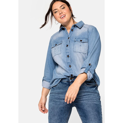 Sheego Jeansbluse Sheego light blue Denim