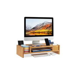 relaxdays Monitorständer mit Staufächern Monitor-Halterung