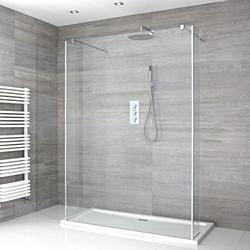 Portland Schwebende Walk-In Dusche mit Duschtasse & Seitenpaneelen - Wählbare Größe, von Hudson Reed