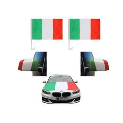 Sonia Originelli Fahne Auto Fan-Paket Haubenfahne Fensterfahnen Spiegelfahnen Magnetflaggen Italien Italy Italia, Fanartikel für das Auto in Italien-Farben Fanset-10XL