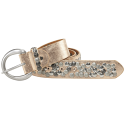 heine Nietengürtel, mit Metallnieten goldfarben Damen Ledergürtel Gürtel Accessoires Nietengürtel