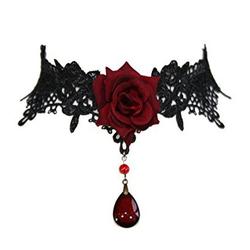 Dark-Desires Halsband Gothic Halsschmuck rote Rosen