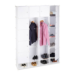 relaxdays Kleiderschrank transparent / weiß 18 Fachböden