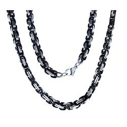Kiss of Leather Königskette edle Edelstahl Königskette schwarz - silbern, 4,5mm dick, 55 60 70 cm lang, Kette 55 cm