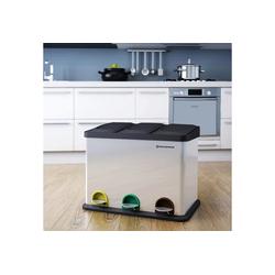 SONGMICS Mülleimer LTB45L, Mülleimer Abfallbehälter Abfalleimer mit Inneneimer Mülltrennsysteme Treteimer Edelstahl 45 Liter 3 x 15L