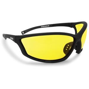 BERTONI Sportbrille Sehstärke mit Adapter für brillenträger für Radsport Motorrad Ski Golf Lauf Running - AF100 Windschutz für Brillenträger (Gelb)